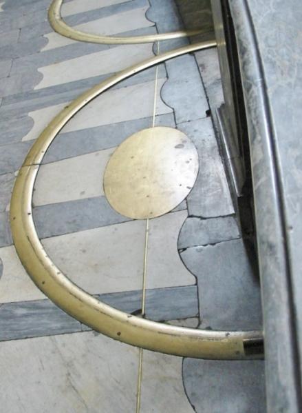 Gnomón astronómico en el suelo de Inicio de Saint Sulpice.